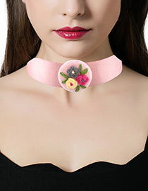 Fashion Pink Flowers Decorated Color Matching Simple Choker