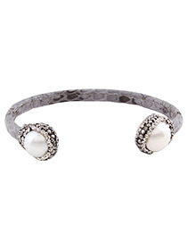 Fashion Gray Round Shape Diamond Decorated U Shape Bracelet