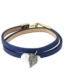 Trendy Blue Leaf&pearls Decorated Double Layer Bracelet
