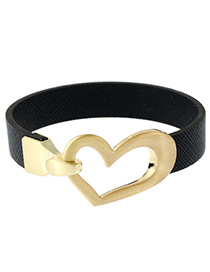 Fashion Black Heart Shape Decorated Color Matching Bracelet