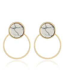 Trendy Gold Color Circular Ring Shape Decorated Color Matching Simple Earrings