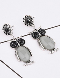 Exaggerated Yellow Oval Shape Gemstone Decorated Owl Shape Earrings