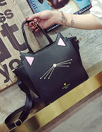 Fashion Black Cat Shape Decorated Color Matching Simple Shoulder Bag