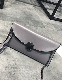 Fashion Gray Pure Color Decorated Square Shape Mini Shoulder Bag
