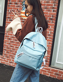 Fashion Blue Letter Pattern Decorated Pure Color Simple Backpack