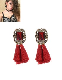 Fashion Red Tassel Decorated Pure Color Simple Earrings