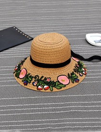 Fashion Pink Embroidery Flower Decorated Bowknot Design Simple Hat