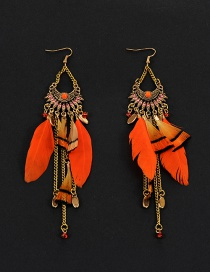 Vintage Orange Feather Decorated Simple Long Chain Earrings