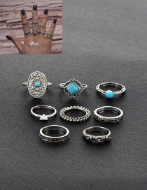 Retro Silver Color Diamond Shape Decorated Simple Rings(8pcs)