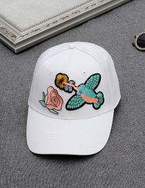 Fashion Black Embroidery Flower&bird Decorated Pure Color Baseball Cap