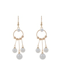 Trendy Beige Pearl Decorated Circular Ring Design Pure Color Earrings