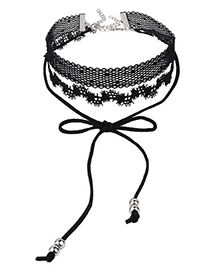 Trendy Black Bowknot&beads Decorated Multi-layer Pure Color Choker