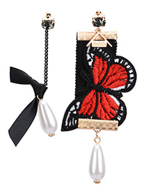 Trendy Multi-color Embroidery Butterfly&pearl Decorated Asymmetrci Earrings
