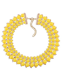 Trendy Yellow Diamond Decorated Bead Shape Pure Color Simple Necklace