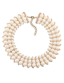 Trendy White Diamond Decorated Bead Shape Pure Color Simple Necklace