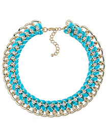 Fashion Blue Diamond Decorated Multi-layer Design Color Matching Necklace