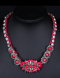 Trendy Plum Red Diamond Decorated Flower Shape Design Color Matching Necklace