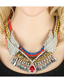 Trendy Multi-color Wing Shape Decorated Simple Tassel Multilayer Necklace