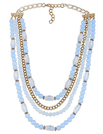 Fashion Light Blue Round Shape Decorated Simple Multilayer Long Chain Necklace