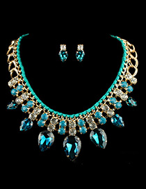 Elegant Blue Watershape Diamond Decoarted Simple Jewelry Sets