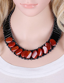 Fashion Red Oval Shape Decorated Simple Short Chain Necklace