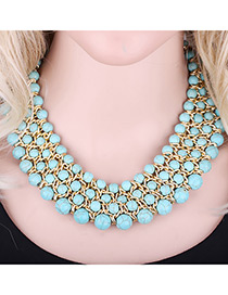 Bohemia Green Round Shape Decorated Simple Multilayer Necklace