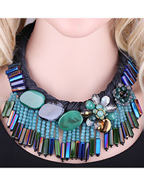 Exaggerate Green Stone Shape Decorated Simple Short Chain Tassel Necklace