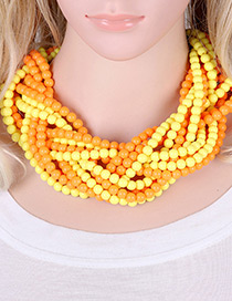 Exaggerate Yellow+orange Color-matching Decorated Hand-woven Multilayer Necklace