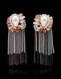 Bohemia Multi-color Color-matching Decorated Metal Tassel Decorated Simple Long Earrings