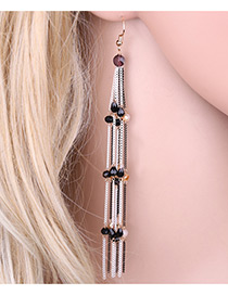 Elegant Black Beads Decorated Tassel Design Color Matching Long Earrings