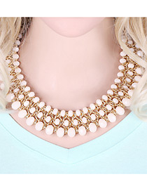 Trendy Beige Beads Decorated Multi-layer Design Pure Color Simple Necklace