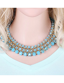Trendy Blue Beads Decorated Multi-layer Design Pure Color Simple Necklace