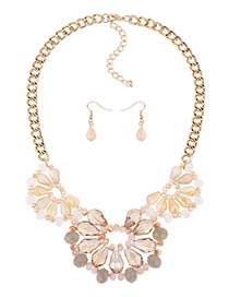 Fashion Beige Flower Shape Decorated Hollow Out Design Color Matching Necklace