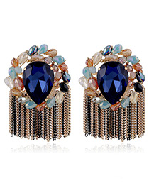 Elegant Sapphire Blue Diamond Decorated Tassel Design Color Matching Earrings