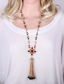 Vintage Red Long Tassel &flower Pendant Decorated Simple Long Sweather Necklace