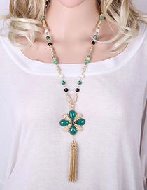 Vintage Green Long Tassel &flower Pendant Decorated Simple Long Sweather Necklace