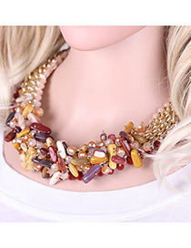 Elegant Multi-color Long Square Shape Gemstone Decorated Simple Short Chain Necklace