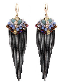 Bohemia Multi-color Round Shape Decorated Simple Long Tassel Earrings