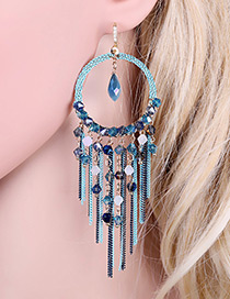 Bohemia Blue Aeolian Bells Design Hollow Out Simple Earrings