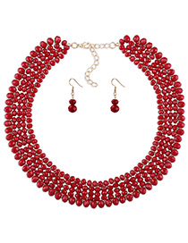 Elegant Red Round Shape Decorated Simple Pure Color Jewelry Sets