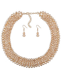 Elegant Champagne Round Shape Decorated Simple Pure Color Jewelry Sets