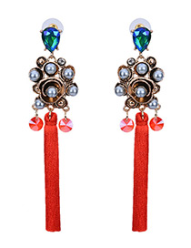 Bohemia Red Flower Shape Decorated Simple Long Chain Earrings