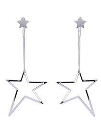 Fashion Silver Color Hollow Out Star Pendant Decorated Simple Long Earrings