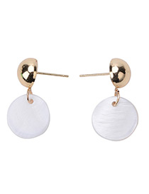 Elegant White Round Shape Pendant Decorated Simple Short Earrings