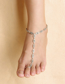 Luxury Silver Color Pure Color Decorated Simple Long Chain Anklet