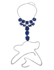 Exaggerate Blue Geometric Shape Diamond Decorated Simple Waist Chain
