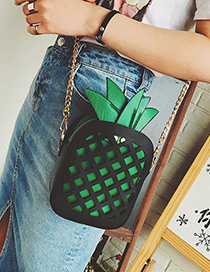 Fashion Black+green Pineapple Decorated Hollow Out Color Matching Shoulder Bag