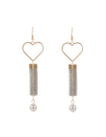 Trendy Gray Heart Shape Decorated Hollow Out Design Color Matching Earrings