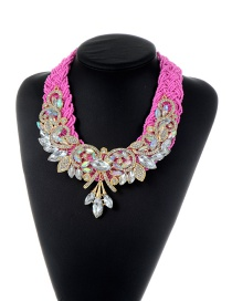 Trendy Pink Water Drop Shape Diamond Decorated Color Matching Necklace