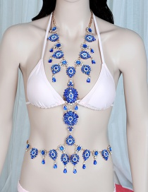 Trendy Sapphire Blue Water Drop Shape Diamond Decorated Pure Color Body Chain